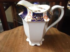 ANTIQUE GILDED COFFEE POT + ODD LID COBALT WITH HANDPAINTED RUST FLOWERS TLC